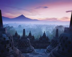 Borobudur Temple is sunrise, Yogyakarta, Java, Indonesia.