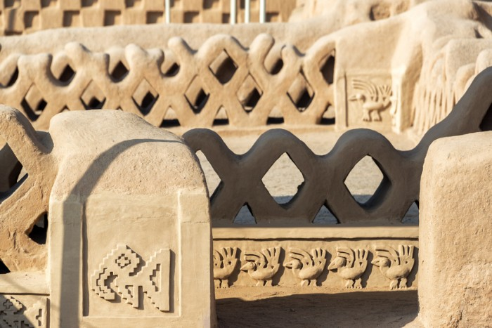 Details of the stunning adobe architecture in Chan Chan in Trujillo, Peru