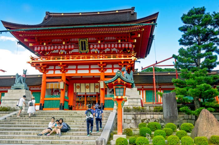Kyoto, Japan- July 21, 2015 : Fushimi Inari Shrine in Kyoto. Fushimi Inari Shrine is a popular tourist spot for foreigners. Fushimi Inari Shrine is a shrine of Inari faith. Tourists visit Fushimi Inari Shrine, the head shrine of Inari including trails up the mountain in Kyoto, Japan.