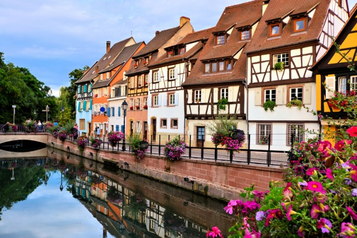 Beautiful canals of Colmar, Alsace, France with late day reflections