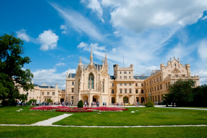Lednice, Czech Republic - July 6, 2016: Lednice Palace surrounded by the largest park in the country