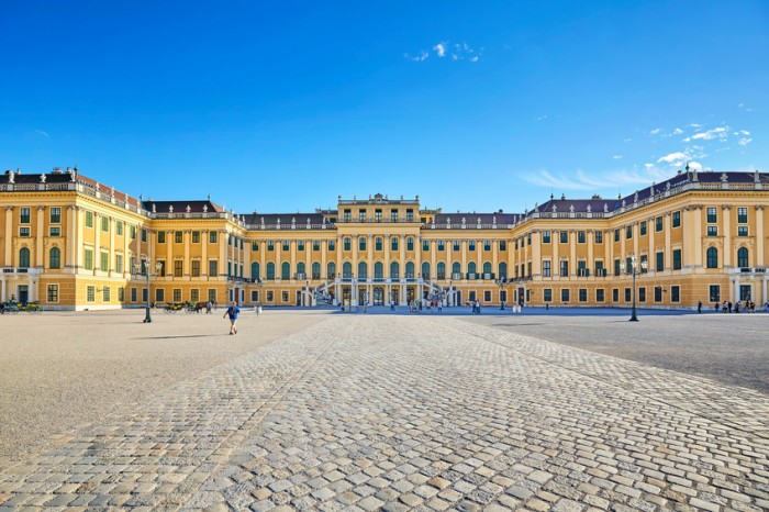 Vienna, Austria - August 14, 2016: Schonbrunn Palace, former imperial summer residence and a major tourist attraction in the city.