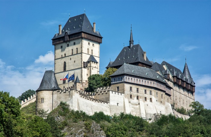 Karlstejn is a large gothic castle founded 1348 by Charles IV in Czech republic. Ancient architecture. Travel destination. Beautiful place.