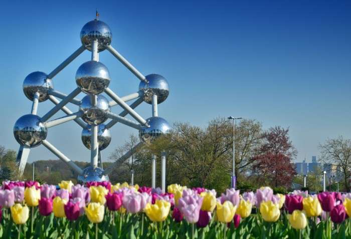 Brussels, Belgium - April 1, 2016: The Atomium, a building in Brussels originally constructed for Expo 58, the 1958 Brussels World's Fair.