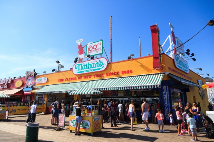 New York, NY, USA - August 30, 2016 : The Nathan's: The Nathan's original restaurant at Coney Island, The original Nathan's still exists on the same site that it did in 1916.