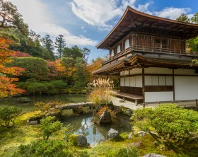 "Kyoto, Japan - November 21, 2015: Ginkaku-ji, the ""Temple of the Silver Pavilion,"" is a Zen temple founded in 1490. Ginkaku-ji was originally built to serve as a place of rest and solitude for the Shogun. Ginkaku-Ji is a popular tourist site, which was listed by UNESCO as a World Heritage site in 1994."