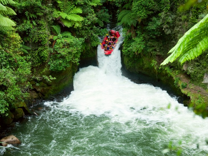 """""""A group of whitewater rafters on the Kaituna River, New Zealand"""""""