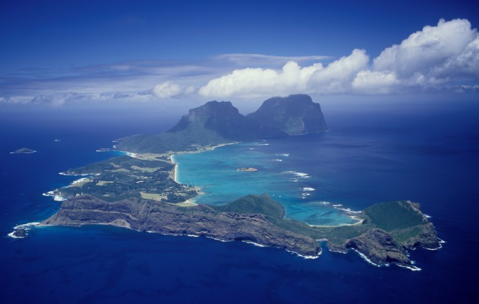 Lord Howe Island aerial the most southerly coral reef in the world 700km off the NSW coast Australia