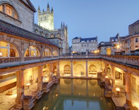 Old roman baths at bath, england, built on the site of the godess aquae suilis
