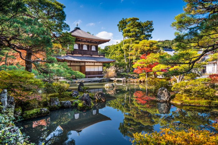 Kyoto, Japan - November 19, 2012: Fall at Ginkaku-ji Temple of the Silver Pavilion. The site was originally intended as a villa but was turned into a Buddhist complex in 1490.