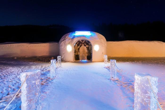 The beautiful Sorrisniva ice hotel located outside Alta, Norway.