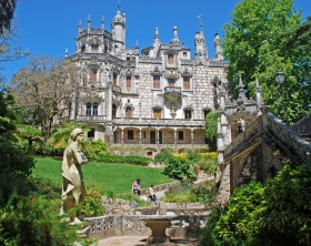 Sintra,Portugal - May 01, 2009: Majestic view with ornate palace Regaleira and beautiful garden in Sintra,Portugal.