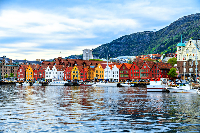 Harbor and color houses in Bergen, Norway