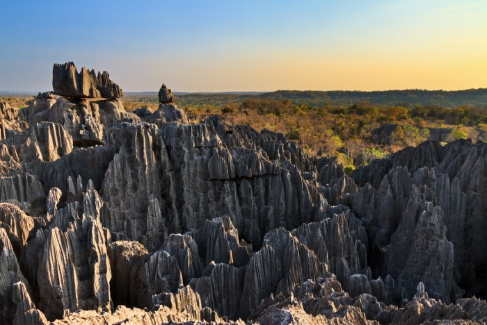 Beautiful view on the unique geography at the Tsingy de Bemaraha Strict Nature Reserve in Madagascar