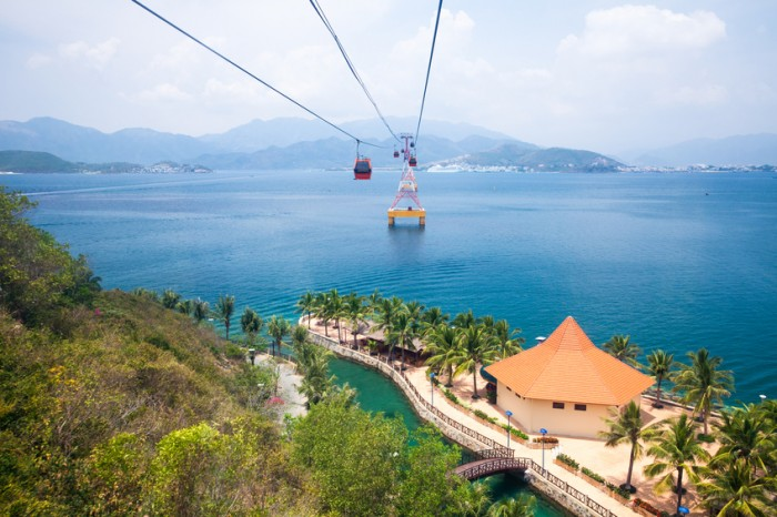 One of the world's longest cable car, leading to Vinpearl Amusement Park, view from cabin.  Nha Trang, Vietnam.