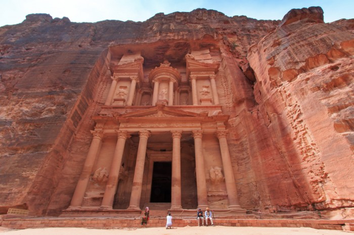 Petra, Jordan - March 26, 2015: Tourist exploring the ruins of ancient Petra, Jordan