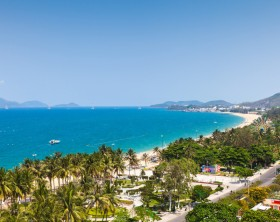 Aerial view over Nha Trang city, popular tourist destination in Vietnam.