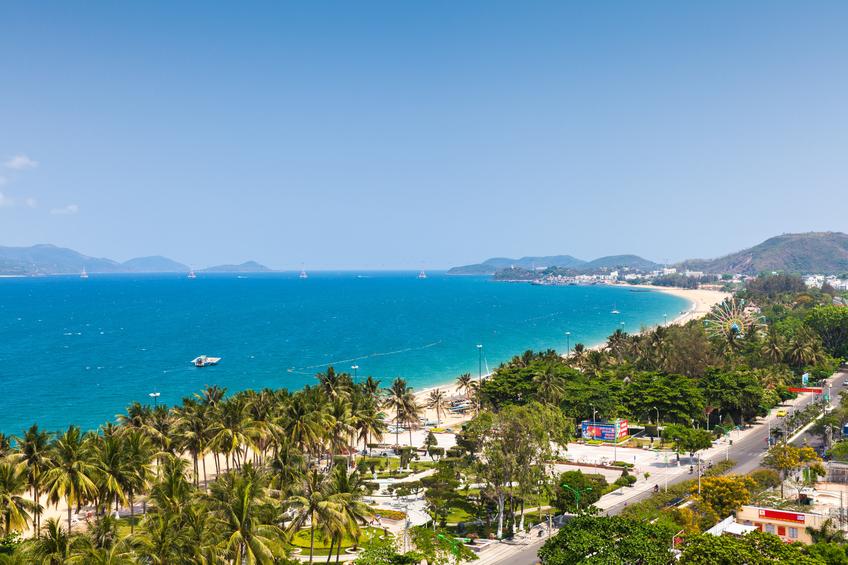 Aerial view over Nha Trang city, popular tourist destination in Vietnam.