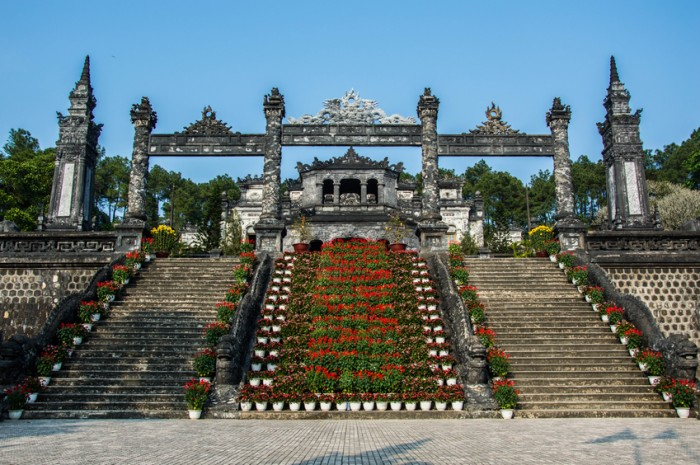 Frontal view of the mausoleum of Khai Dinh in Hue, central Vientam