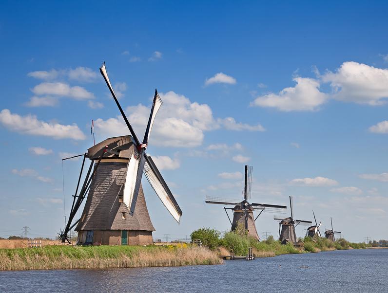 Ancient windmills near Kinderdijk, Netherlands