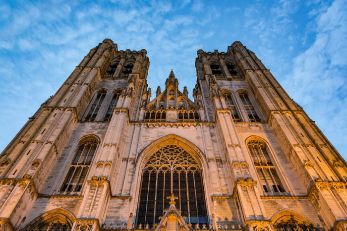 Cathedral of Saint Michael and Saint Gudula in Brussels at sunset, Belgium