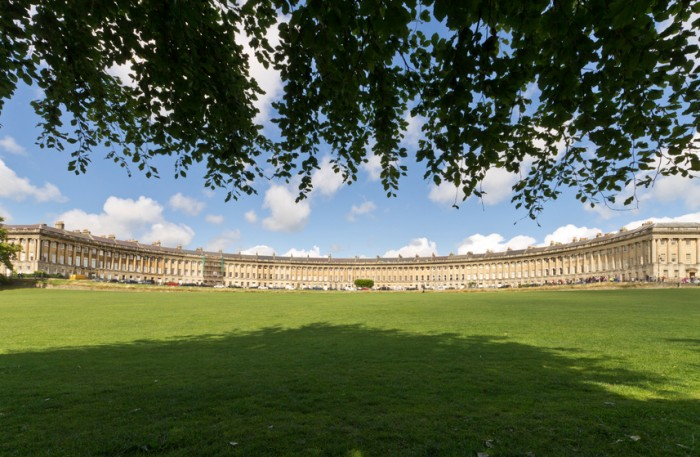 The Royal Crescent building in Bath, Somerset, UK