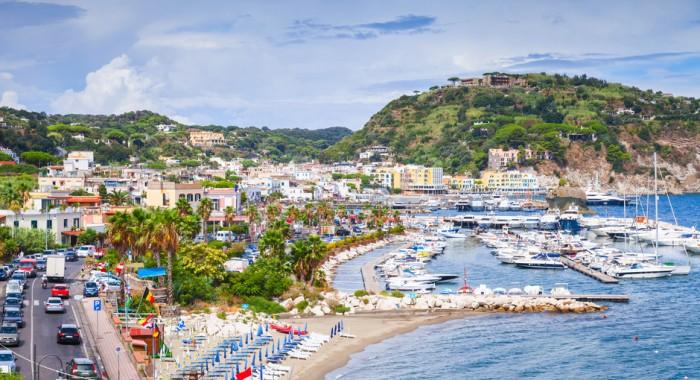 Public beach of Lacco Ameno resort town, Ischia island, Italy