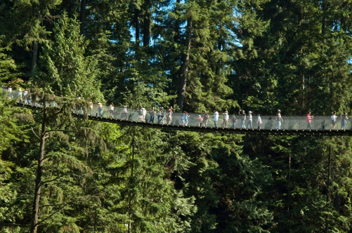 Vancouver, Сanada - July 26, 2007: Visitors crossing the Capilano River on a suspension bridge located in North Vancouver, British Columbia, Canada. The Capilano Suspension Bridge hangs 140 metres above the river.
