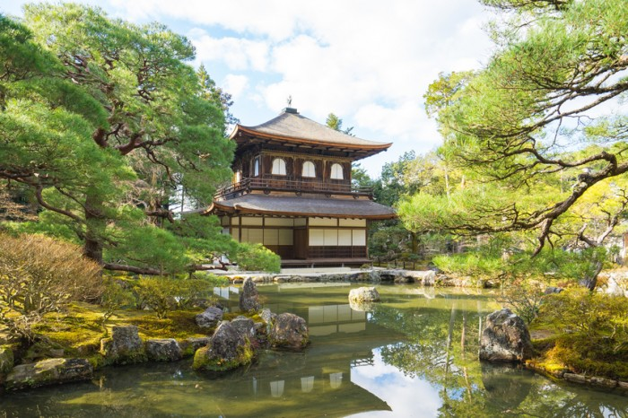 Kyoto,Japan - December 30, 2015: The Buddhist temple Ginkaku-ji is the symbol of Kyoto and one of the most famous temples in all of Japan attracting thousands of tourists daily.