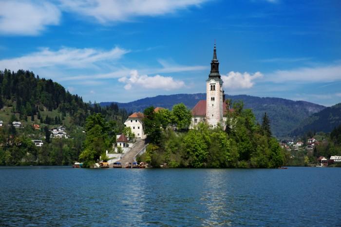 St. Mary Church on Lake Bled Island, Gorenjska, Slovenia, Europe