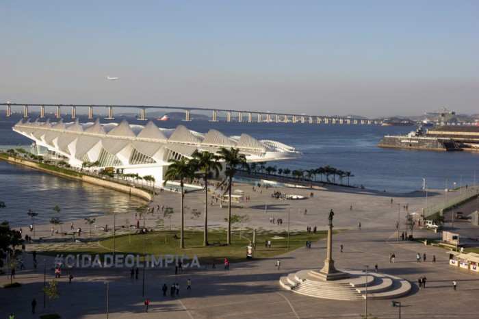 Rio de Janeiro, Brazil, 16 June 2016: View of the port area of the Olympic city Rio de Janeiro. During the 2016 Olympic Games, the site will have an Olympic boulevard where will the Olympic cauldron. The site is one of the main attractions of central Rio and has museums, bars, restaurants and cultural events.