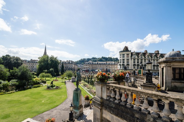 Bath, United Kingdom - August 15, 2015: Public park and cityscape in the city of Bath Somerset England UK