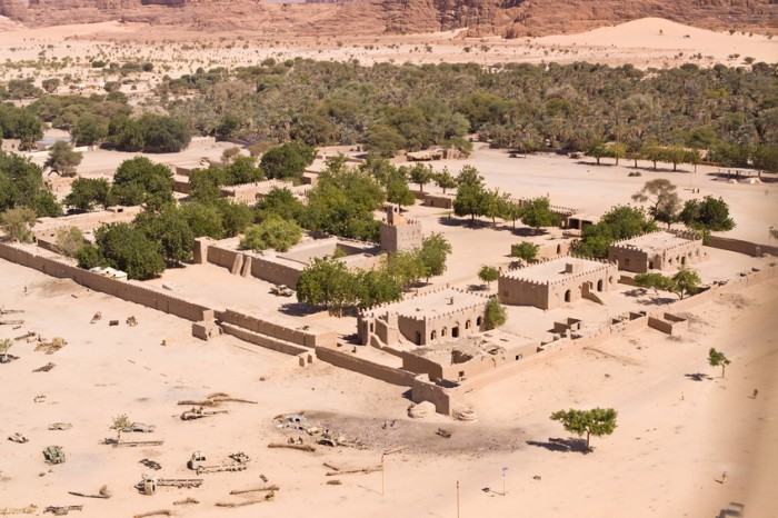 Aerial Photograph of a desert village in Chad in Central Africa