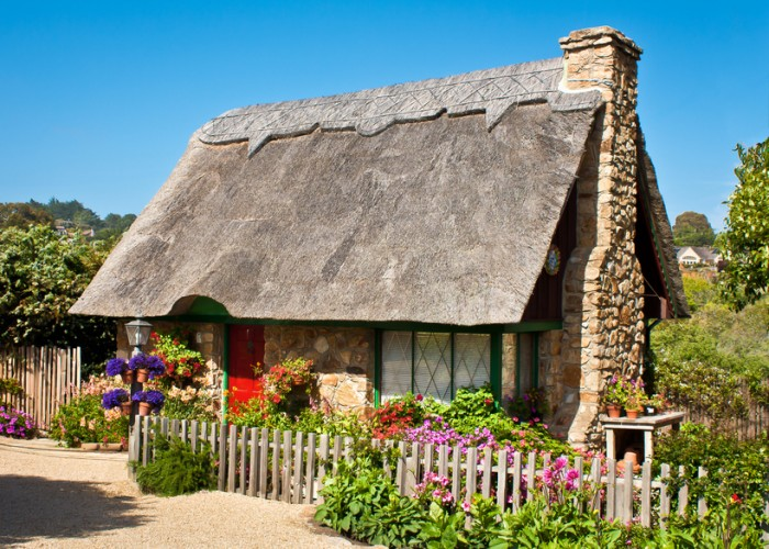 """""""A thatched-roof cottage in Carmel, California.Other Carmel houses:"""""""