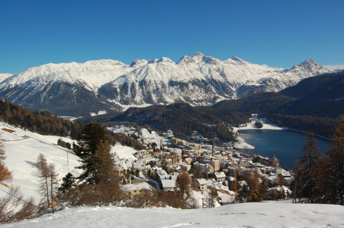 "Winter in St. Moritz, Switzerland, Center of Jet Set People, Tourism and Private Banking, also called the """"Monaco of the Alps"""""