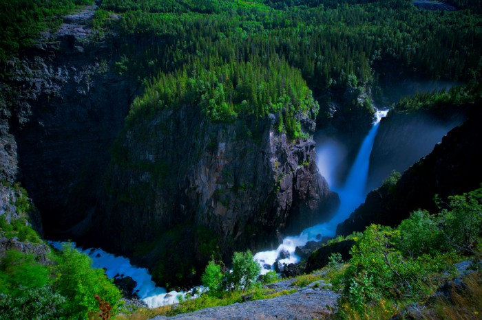 Rjukanfossen waterfall in Norway seen from above