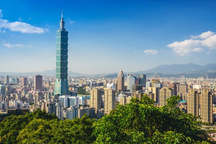 Taipei, Taiwan downtown skyline at the Xinyi Financial District.
