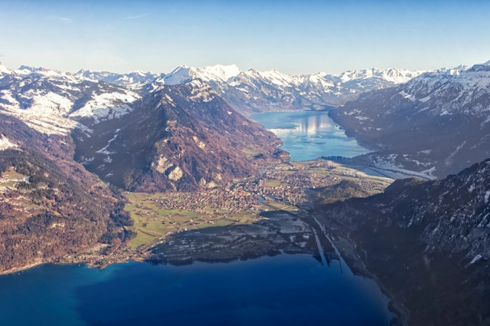 Aerial view city of Interlaken, Thun Lake and Brienz lake