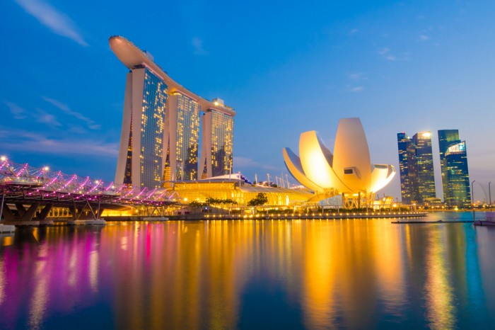 Singapore City, Singapore - June 22, 2014: Singapore Skyline and view of Marina Bay.