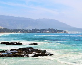 Carmel beach as seen from the rocks below the Pebble Beach Golf Course.
