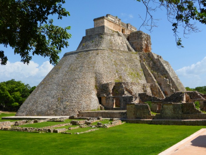 Photo taken at Uxmal in Yucatan - Mexico. View of the main mayan pyramid