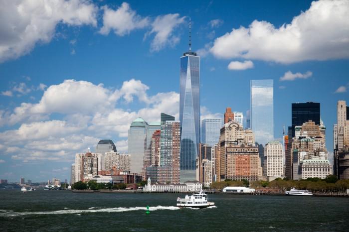 New York City, United States - September 7, 2014: Skyline Downtown Manhattan including One World Trade Center