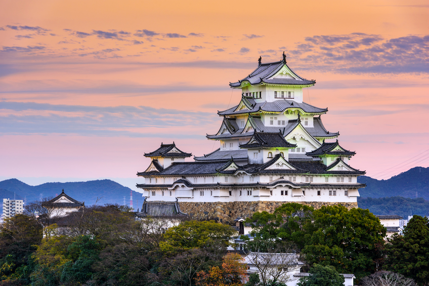 Himeji, Japan - November 16, 2015: The main keep of Himeji Castle. Founded in 1333 and rebuilt in the early 1600's, the castle is considered one of the best preserved in Japan.