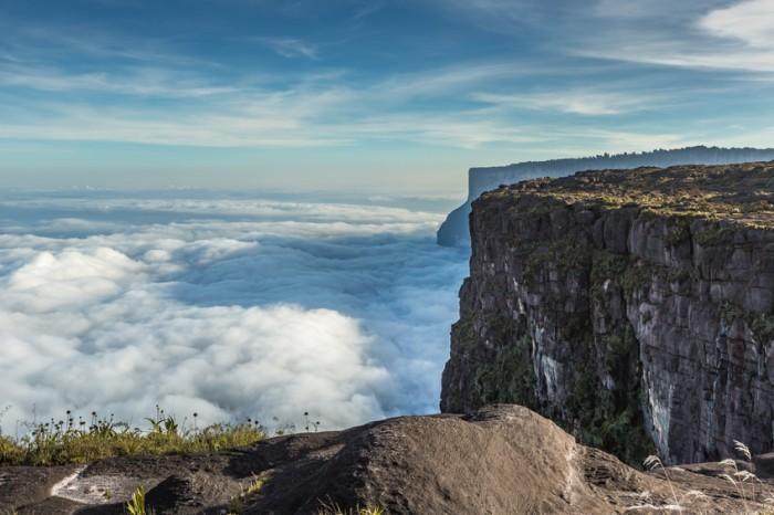 View from the Roraima tepui on Kukenan tepui at the mist - Venezuela, South America
