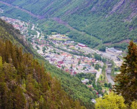 View on Rjukan, Norway from the top of Krossobanen, a cable car reaching mountain