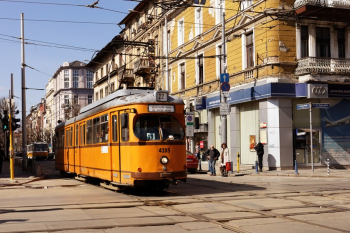 Sofia, Bulgaria - March 05, 2016: Retro styled tram in the city center. The tramway system in Sofia was created in 1901, and now is the only tramway system in Bulgaria