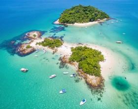 Aerial view of Cataguases Island in Angra dos Reis, Rio de Janeiro, Brazil.