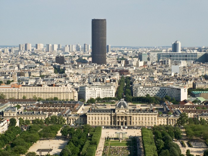 View from the Eiffel Tower to the Montparnasse Tower and the Military School
