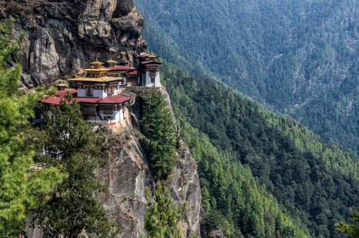 Tigers Nest Monastery also know as Taktsang Palphug Monastery. Located in the cliffside of the upper Paro valley, in Bhutan.
