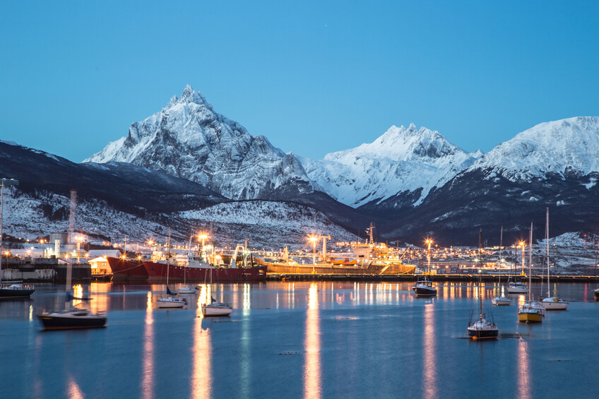 Amazing view of Ushuaia city at night, the most south city in the world in Patagonia, Argentina, South America.
